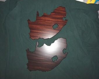 South Africa plaque (RSA).  African Sapele Mahogany hardwood