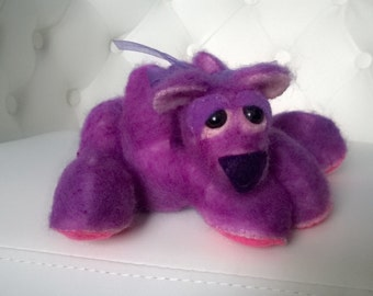 Fuzzy Purple Artist Teddy Bear Stuffed Animal Cute Gift Ooak Plush Plushie Soft Softie
