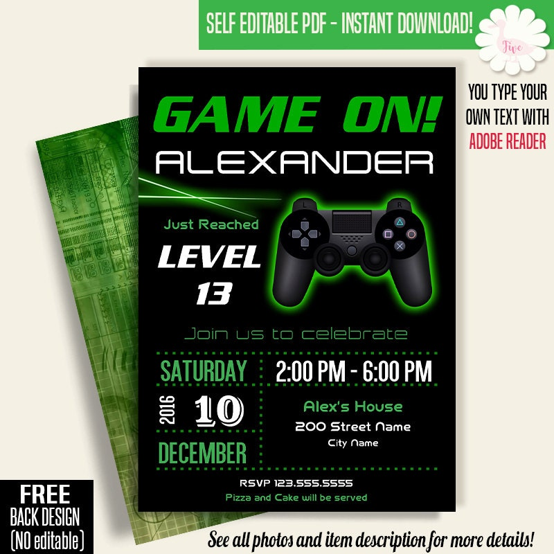 Game On Invitation Video Game Party Invitation Gaming - Video game birthday party invitation template free