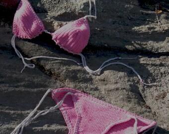 Boho  Handmade Crochet cheeky brazilian bottom string bikini ready to ship Future Fuschia S/M