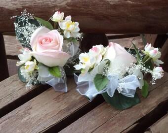 Blush Pink Silk Pin On or Wrist Corsage / Wedding Corsage / Prom Corsage / Prom Flowers / Pink Prom Flowers / Pink Wedding Flowers