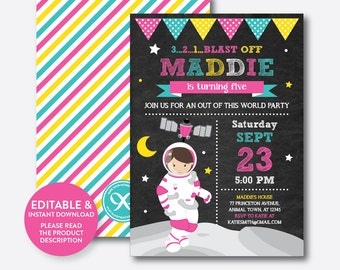 Instant Download, Editable Astronaut Birthday Invitation, Astronaut Invitation, Space Invitation, Outer Space, Girl, Chalkboard (CKB.67C)