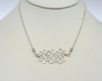 Sterling Silver Infinity Bar Necklace Celtic Infinity Knot Necklace Delicate Loop Pendant Hammered Wire Jewelry Lucky Necklace