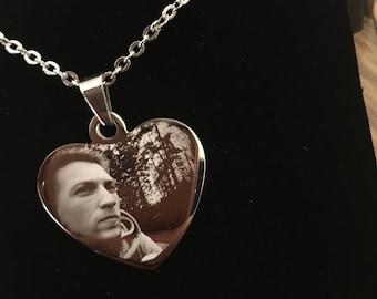 Engraved photo, fingerprint, handwriting, heart pendant