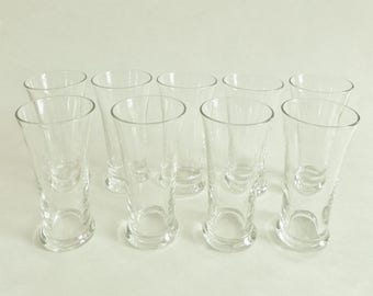 Vintage Beer Flight Glasses - Set of 9 - Small Pilsner Glasses - 4 Ounces - Clear Glass Barware