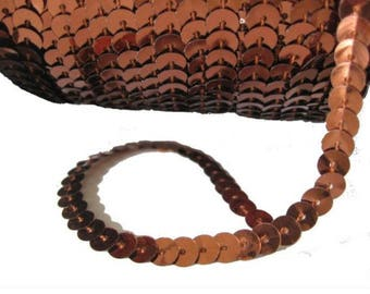 1 meter Ribbon sequins shiny brown 4 mm