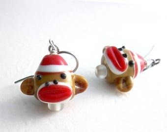 Sock Monkey Earrings, Cute Animal Jewelry, Fun Earrings For Girls, Gifts Under 20