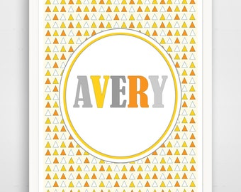 Personalized Children's Wall Art / Nursery Custom Name Yellow Triangle print by Finny and Zook