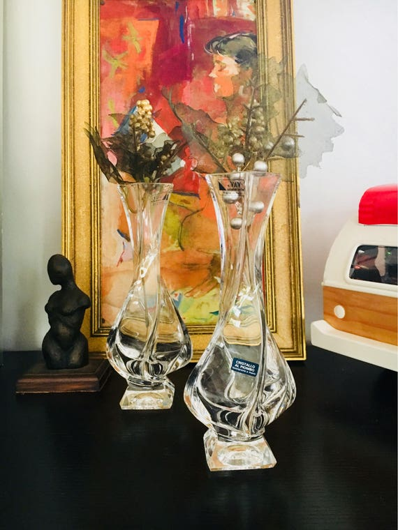 Vintage Lead Crystal Vases or Candlestick Holders Made by Hand - Cristallo Al Piombo - n VAV Cristalleria - Made in Italy Crystal Vase