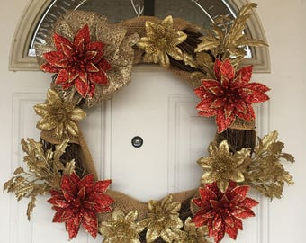 Red & Gold Flower Christmas Wreath