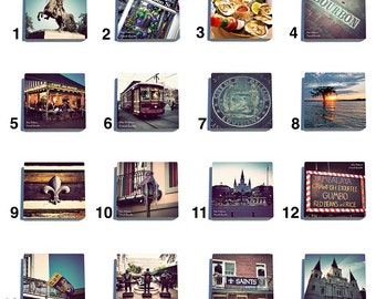 New Orleans French Quarter Color - Stone Coaster Tile Set - Pick any Four images - 16 to choose from