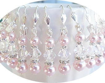 Pink Earrings, Bridesmaid Jewelry, Pink Wedding,  Blush Pink, Crystal Earrings, Pearl Earrings, Wedding Jewelry, Mother of  the Bride