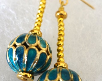 Earrings: bright turquoise blue and gold cloisonne with 22K plate findings--