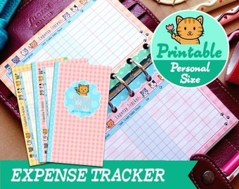 PRINTABLE Personal Size Kitty Financial Expense Tracker Refills Inserts Filofax Kikki.K Louis Vuitton Organizer Planner Instant Download