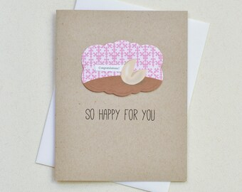 Congratulations Card - Engagement Greeting Card - Card for Great News - Happy For You - (EV-05)