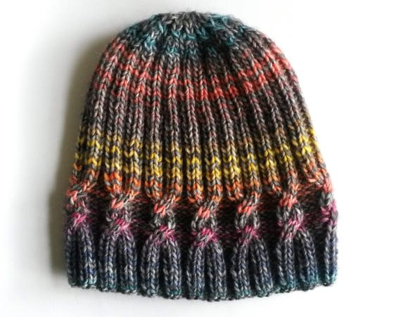 Knit beanie hat. Women's beanie. Cable knit hat. Striped beanie. Made in Ireland. Aran knit beanie. Colorful handknit hat. Girlfriend gift.