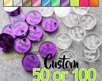 Custom Jewelry Tags - circle shaped, CHOOSE 1 COLOR, qty 50 or 100, clear, mirrored, neon, your text, engraved