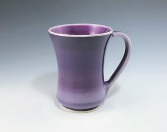 Purple Coffee Cup, Ceramic Mug, Ceramic Coffee Mug, Purple Mug, Purple and Pink Ombré Mug, Porcelain Mug, Tea Mug, Wheel Thrown Pottery Mug