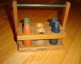 Vintage Wooden Milk Bottles and Crate, Wooden Toys, Antique Toy, Vintage Wooden Toy, Childs Vintage Toy, Milk Crate, Milk Bottles