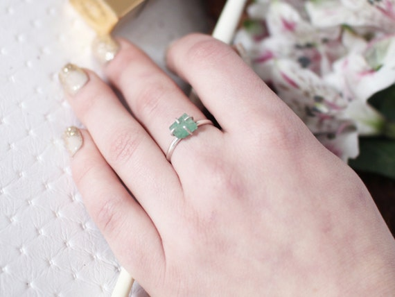 Raw Emerald Ring, Green Emerald, May Birthday Gift, May Birthstone, Solitaire Ring, Raw Gemstone Jewelry, Raw, Rough Natural, Rustic, Dainty