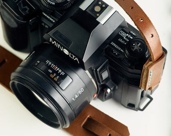 Leather Camera Strap, Light Brown, Adjustable, Fits Any Camera, Other Colors Available