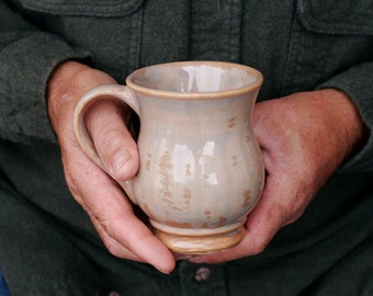 12 oz Mug, Mottled Toffee Drip Mug, Base of tan, Pearly Tan Overlay, Natural Patina High Fire Stoneware, Hand Painted, Ready To Ship