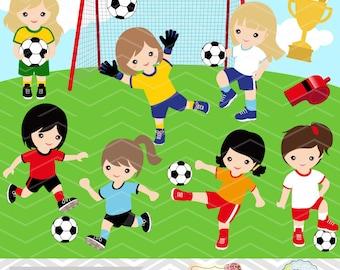 Digital Girls Soccer Clipart, Girl Soccer Digital Clip Art, Sport Clipart, Girls Sport Clip Art, Sport Girls Clipart, Soccer Clipart 0257