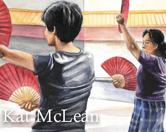Watercolor - The Fan Dance Practice - Print on Paper