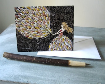 Blank note card, greeting card, art card, gift for her, shellieartist, illustrated blank card, glossy finish
