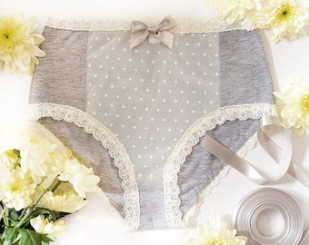 Gift for Women, High Waisted, Sexy Lingerie, Panties, Christmas gift, Gray Cotton, Cream Lace, Handmade, Gift for Her