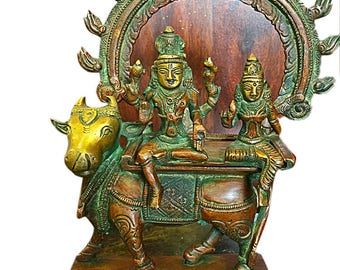 Vintage Shiva Parvati Seated on Nandi Under Arch of Flames Brass Statue Zen Yoga Decor Meenakshi Temple
