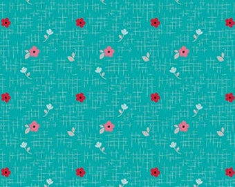 Pink and Red Floral on Teal (Aqua) From Riley Blake Fabric's Panda Love Collection by Kelly Panacci