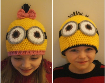 Crochet Minion Hat Pattern. 6-12, 12-24 months, 3-5 years, Child, and Adult. - PATTERN ONLY