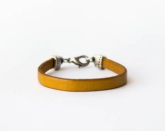 Yellow mustard leather bracelet, leather bracelet, yellow leather, boho bracelet, rocker style, leather bracelet woman, leather bracelet men
