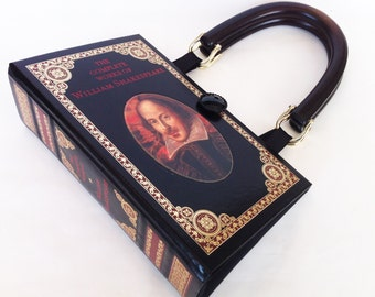Shakespeare Book Purse - William Shakespeare Recycled Leather Bound Book - Literature Gift - Shakespeare Book Cover Handbag