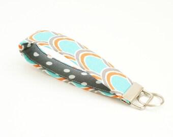 Key Fob Wristlet - Aqua, Gray, and Orange Key Fob - 5 Inch Cute Fabric Key Chain - Loop Key Fob - Coworker Gift - Short Key Strap - Keychain