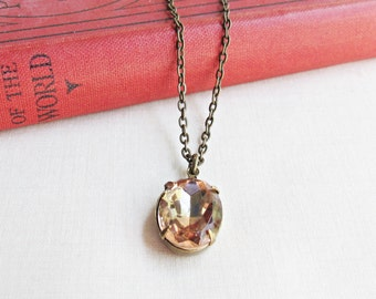 Vintage Glass Jewelry Necklace - Pink Peach Jewellery For Women - Brass Dainty Delicate