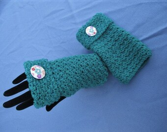 Crochet Jade Green Wrist Warmers With Decorative Buttons