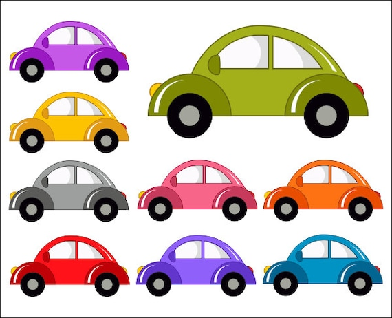 cute cars digital clip art funny cars clipart instant rh etsy com clipart of cars over head clipart of cars over head