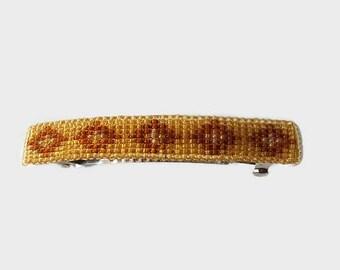 Beaded Barrette, Handmade Barrette, Brown Barrette, Seed Bead Barrette, Beaded Hair clip, Handmade Hair Clip, French Barrette, Brown bead