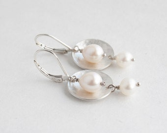 Pearl Dangle Earrings - White Pearl Earrings - Bridesmaids Gift - Wedding Jewelry - Sterling Silver Earrings - Freshwater Pearl Jewelry