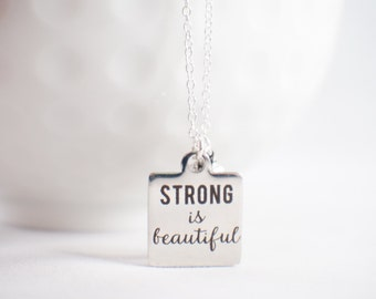 Strong is Beautiful fitness jewelry with dumbbell! Inspirational fitness jewlery. Motivational jewelry.