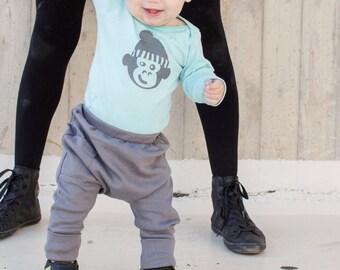 Baby Boy Clothes - Baby Harem Pants, Baby Pants, Baby Boy Pants, Harem Pants Baby, Baby Leggings, Baby Boy Leggings - Steel Gray