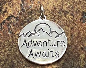 Adventure Awaits Charm, Adventure Charm, Traveler Charm, Travel Charm, Nature Charm, Outdoors Charm, Sterling Silver Charm