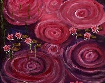 11x14 Swirls and Water Lilies