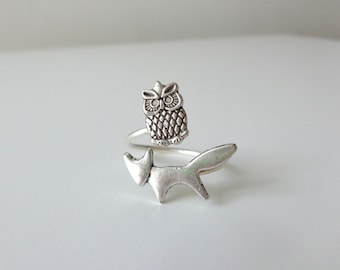 Silver owl ring with a fox, adjustable ring, animal ring, silver ring, statement ring