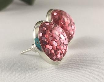 Glitter Earrings - Sparkle Earrings - Glitter Studs - Stud Earrings- Pink Earrings - Bridesmaid Earrings - Bridal Earrings- Sparkle Studs