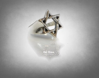 Men's Sterling Silver Star of David Ring all Size