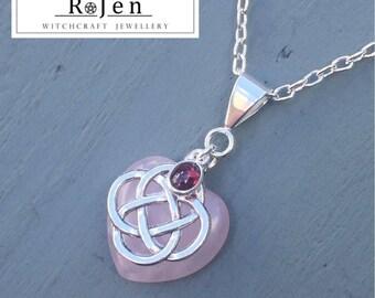 Rose Quartz Heart & Garnet 4 Element Celtic Knot Pendant