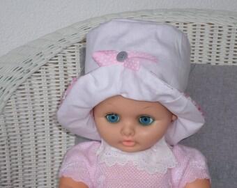 baby Sun Hat designer linen ' cotton eva was white and pink